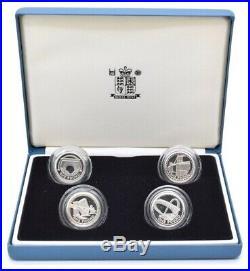 2004 2007 Silver Proof 4 Coin Piedfort Set £1 Box COA Bullion One Pound Mint