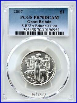 2007 Britannia Silver Proof £1 One Pound PCGS PR70 1/2oz TOP POP Lion