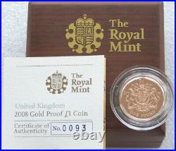 2008 Royal Mint Royal Arms £1 One Pound Gold Proof Coin Box Coa