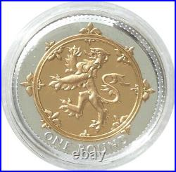 2008 Royal Mint Scottish Rampant Lion £1 One Pound Silver Gold Proof Coin