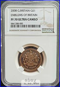2008 Royal Mint UK Gold Proof 19.619g £1 One Pound Emblems of Britain NGC PF70
