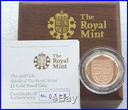2009 Royal Mint Royal Shield of Arms £1 One Pound Gold Proof Coin Box Coa