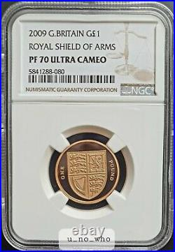2009 Royal Mint UK Gold Proof 19.619g £1 One Pound Royal Shield of Arms NGC PF70