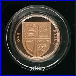 2009 UK £1 One Pound Royal Mint SHIELD Of The ROYAL ARMS 19.61 g Proof Gold Coin