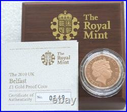 2010 Royal Mint Cities of the UK Belfast £1 One Pound Gold Proof Coin Box Coa