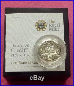 2011 Cardiff Uk £1 One Pound Coin Silver Proof Coin Box + Coa