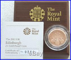 2011 Royal Mint Cities of UK Edinburgh £1 One Pound Gold Proof Coin Box Coa