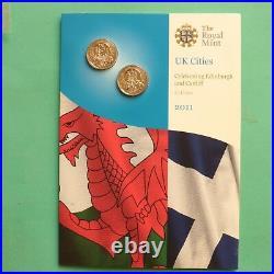 2011 Royal Mint Edinburgh & Cardiff One pound £1 BU set SNo50589