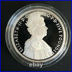 2012 Royal Mint Diamond Jubilee UK Official £5 Five Pounds Silver Proof Coin