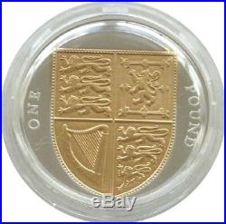 2012 Royal Mint Royal Shield of Arms £1 One Pound Silver Gold Proof Coin