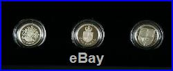 2013 30th ANNIVERSARY OF THE ONE POUND £1 COIN ROYAL ARMS SILVER PROOF SET OF 3