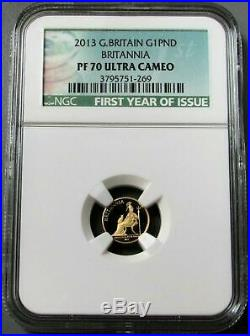 2013 GOLD GREAT BRITAIN ONE POUND COIN NGC PROOF 70 ULTRA CAMEO Free Delivery