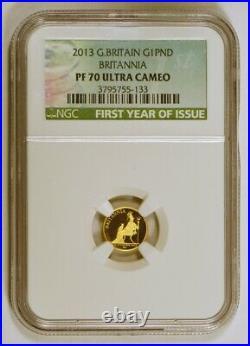 2013 Great Britain 1 Pound Britannia Gold Coin NGC graded PF70 Ultra Cameo