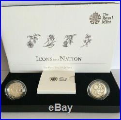 2013 United Kingdom Silver Proof Floral One Pound Coins Cased Pennies2Pounds