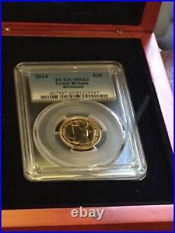 2014 Great Britain Britannia £25 Pound Gold 1/4oz Coin Certified PCGS MS 63 Box