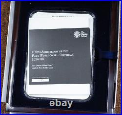 2014 Great Britain Silver 10 Pound Coin 1st World War 100th Anniversary NGC PF70