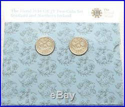 2014 Royal Mint Floral Scotland Northern Ireland £1 One Pound 2 Coin Set Error