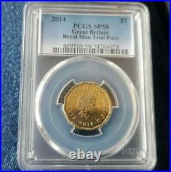 2014 Trial Piece £1 One Pound Coin Mono Metallic Very Rare Genuine And Graded