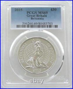 2015 British Britannia £50 Fifty Pound 999 Silver 1oz Coin PCGS MS69