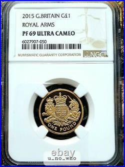 2015 Royal Mint UK Gold Proof £1 Arms One Pound NGC PF69 Ultra Cameo 19.61g 22ct