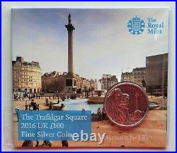 2016 (. 999) Silver Trafalgar Square One Hundred Pound Coin