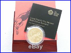 2016 British Lunar Monkey £100 One Hundred Pound Gold Proof Coin Box Coa