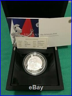 2016 Uk Britannia 5oz Solid Silver Proof Coin £10 One Ounce Ten Pound Royal Mint