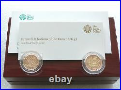 2017 Farewell Nations of the Crown £1 One Pound Gold Proof 2 Coin Set Box Coa