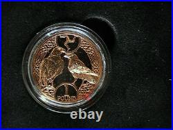 2017 Gold Proof Isle Of Man £1 One Pound Coin Triskele Peregrine Falcon + Raven
