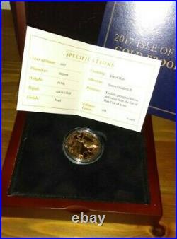 2017 Gold Proof Isle Of Man £1 One Pound Triskele Peregrine Falcon + Raven