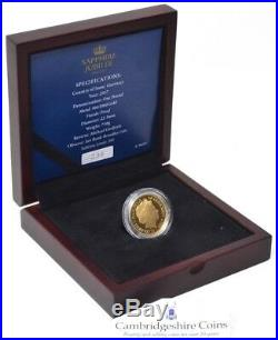 2017 Guernsey Gold Proof One Pound £1 Coin Sapphire Jubilee Wood BOX + COA