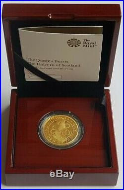 2017 The Queens Beasts Unicorn of Scotland Gold One Ounce Proof 100 Pounds