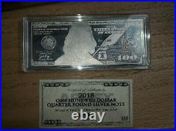 2018 $100 One Hundred Dollar Quarter Pound Silver Note 4 Troy Ounce. 999 Silver