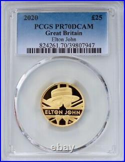 2020 Music Legend Elton John £25 Pound Gold Proof 1/4oz PCGS PR70 DCAM Britain
