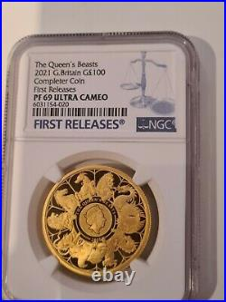 2021 Queens Beasts Completer £100 Pound Gold Proof 1oz Coin