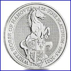 2021 U. K. 100 Pound 1 oz Platinum Queen's Beast BU White Horse