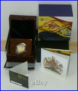 22ct Gold Proof £1 One Pound 2015 Royal Arms Royal Mint Boxed + COA 19.6g