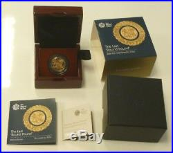 22ct Gold Proof UK Last Round £1 One Pound 2016 Royal Mint Boxed + Cert. 19.6gm