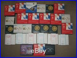 28x RM silver proof coins 50p one pound, £2 & £5, Beatrix Potter, Team GB & more