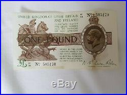 3 X Consecutive Numbered One Pound Notes Signed Warren Fisher V/fine Condition