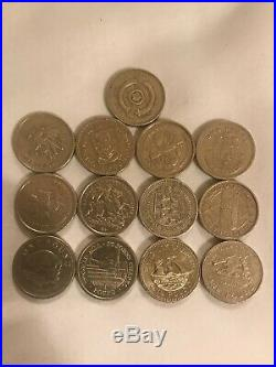 33 Different Old Style £1 One Pound Coins