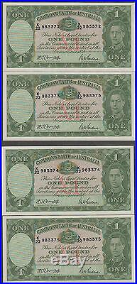 4 CONSECUTIVE 1942 Armatage/McFarlane £1 ONE POUND UNCIRCULATED NOTES