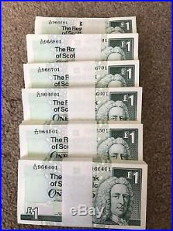 600 Consecutive Uncirculated Scottish £1 One Pound Notes