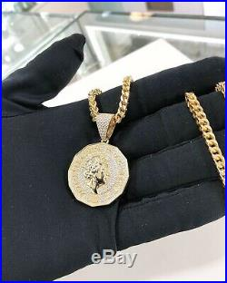 925 Silver SPECIAL One Pound Coin Pendant Iced Out Full Cz Yellow Gold Finish