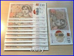 9x Consecutive AAO1 Crisp UNC Polymer Ten Pound Notes £10 Plus One Other AAO1