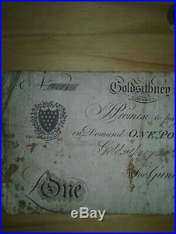 A cornish Goldsithney one pound dated 1818 for the Gundrys Co. Star Inn Helston