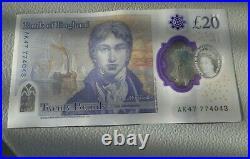 AK47 77403 £20 Bank of England Polymer Twenty Pound Note