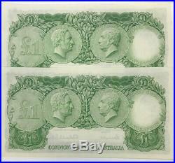 AUSTRALIA 1953 Consec. Pair ONE POUND Notes FIRST PREFIX HA SCARCE UNC
