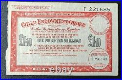 Australia Commonwealth £1.10 One Pound Ten Shillings Child Endowment Order