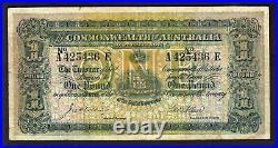 Australia R-18e. (1913) Collins/Allen One Pound. Prefix A, Suffix E. Fine
